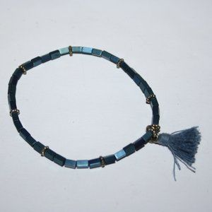 """Beautiful blue and silver tassel bracelet 7"""""""